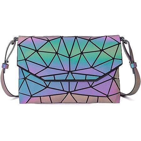 DIOMO Geometrische leuchtende Clutch-Handtaschen für Damen, holografisch, reflektierend, Umhängetasche, Scherbennetz-Geldbörse