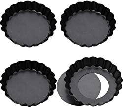 Bestomrogh 4Pcs Non Stick Mini Cake Pans/Set, 4 Inch Round Shaped Removable Loose Bottom Tart Quiche Pan,Pizza Baking tra...