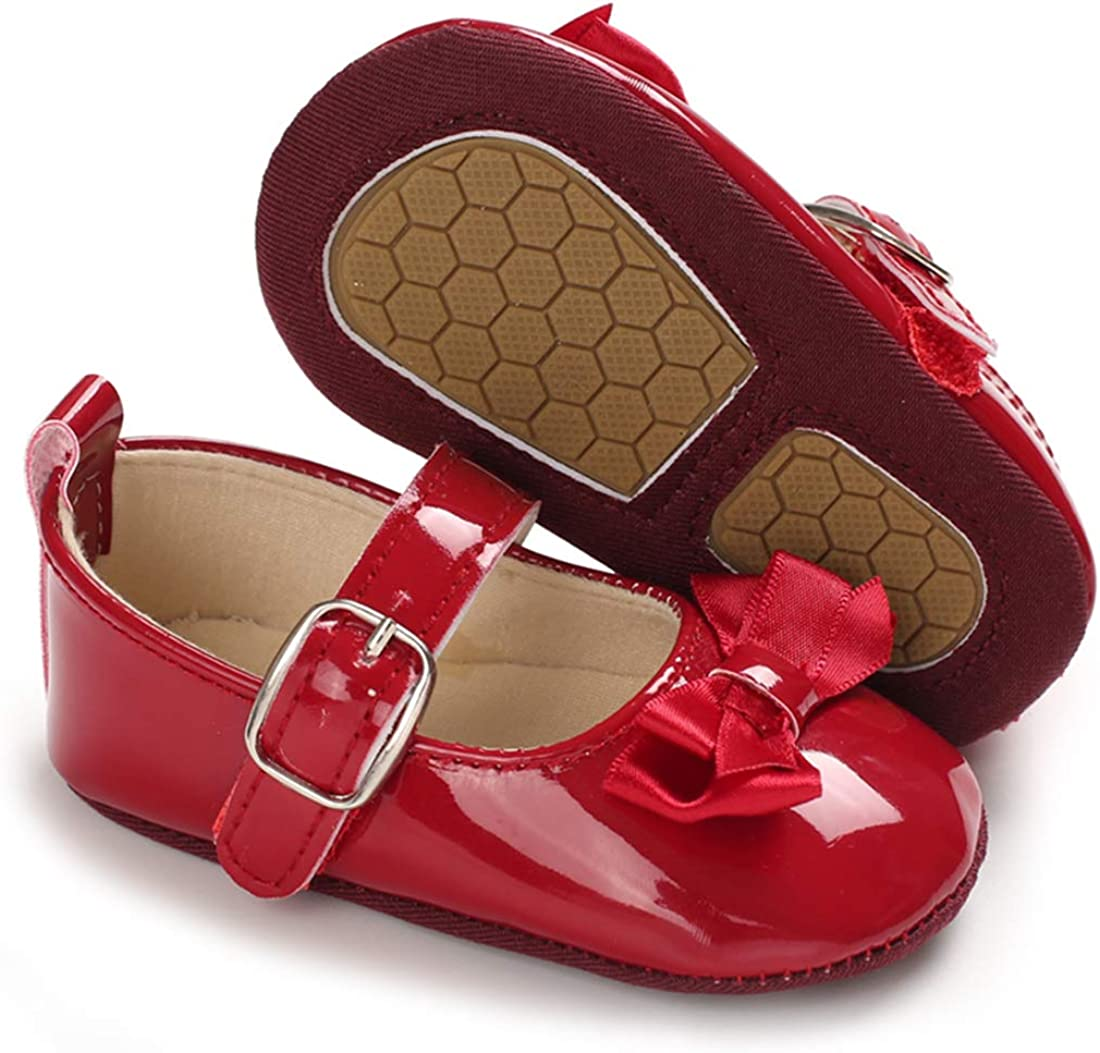 Sawimlgy Baby Girls Mary Jane Princess Flats with Bow Flower Wedding Shoes Anti Slip Hard Sole Infant Prewalker First Crib Shoes Dress Shoes