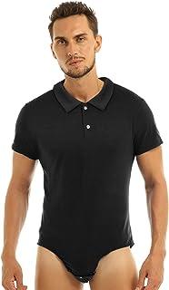 TTAO Men's Short Sleeve Turn-Down Collar Press Button Crotch Shirt Bodysuit Snappies Undershirts