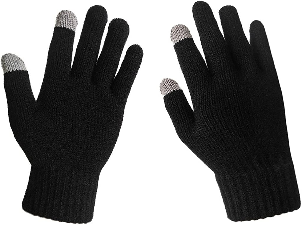 LETHMIK Womens Solid Magic Knit Gloves Winter Wool Lined with Touchscreen Fingers