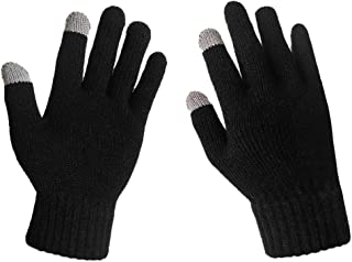 LETHMIK Mens Solid Magic Knit Gloves Winter Wool Lined with Touchscreen Fingers