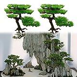Qingchu Planta artificial para acuario o pecera rockery, bonsái, hotel, decoración