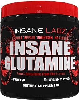 Insane Labz Insane L-Glutamine Powder, Unflavored, Build Muscle Repair Maintain, Pure L-Glutamine Post Workout, 7.1 oz 40 ...