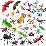 Auihiay 36 Pack Large Plastic Insect Figures Assorted Insect Bugs Include Multicolored Lifelike Butterfly for Children Education, Insect Themed Party, Halloween and Birthday Gifts