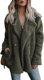 Bloomn Women's Fashion Long Sleeve Lapel Zip Up Faux Shearling Shaggy Oversized Coat Jacket with Pockets Warm Winter