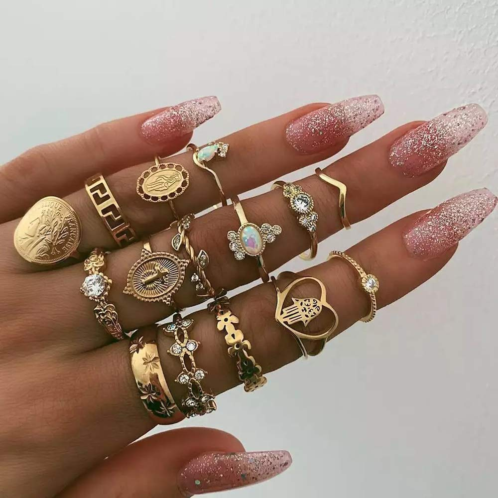 Missgrace Hollow Geometric Style Ring Set Gold Rhinestones Statement Fashion Festive Jewelry Individual Crown Rings Ladies Bohemian Rings Set Knuckle Rings Tribal Accessory for Women 15Pcs (Style 3)