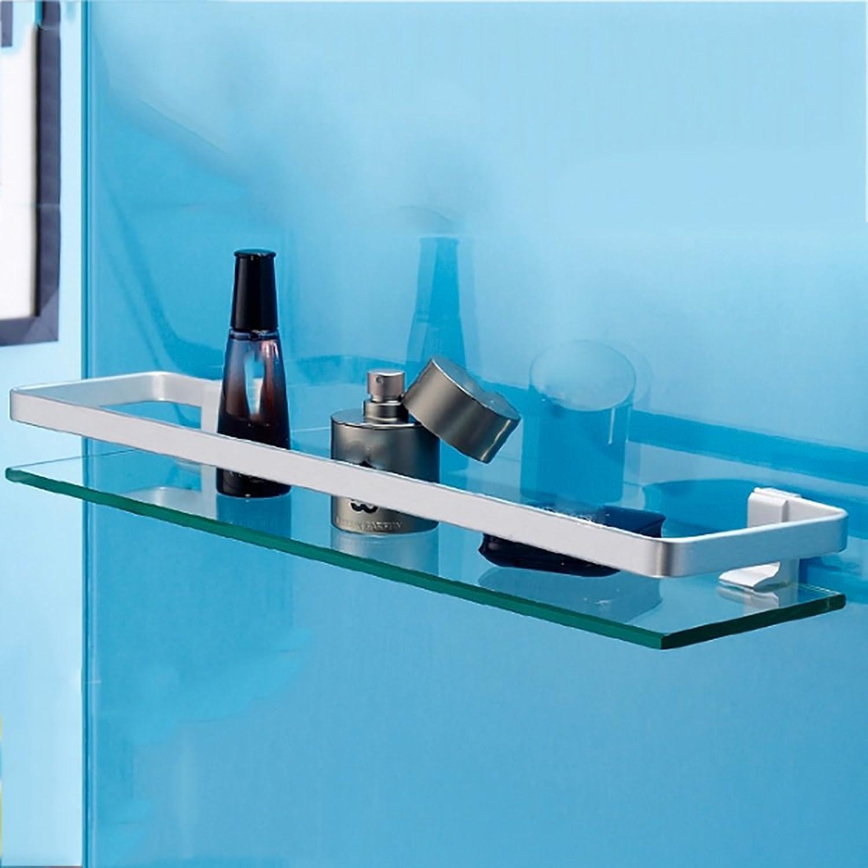 ZZHF yushizhiwujia Space Aluminum Glass Shelves Single Layers Bathroom Shelf Washstand Mirror Front Shelf Glass Shelves (Size   40cm)