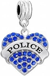 Love My Brave Police Policeman Policewoman Blue Crystals Charm Slider Pendant for Your Necklace European Charm Bracelet (Fits Most Name Brands) DIY Projects ETC