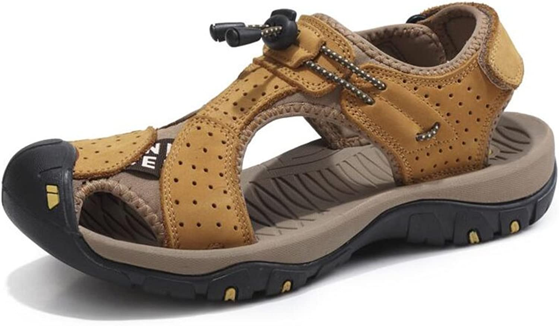 CJC Sandals Men's Leather Slippers Men's Closed Toe Fastening Sports Beach shoes (color   T2, Size   EU40 UK7)