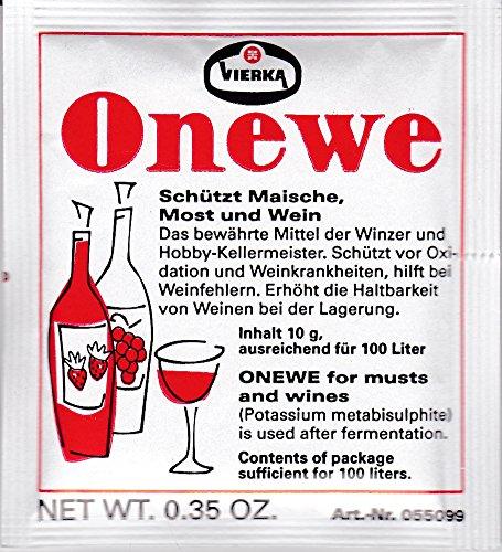 Onewe-Pulver Vierka Kaliumdisulfit schützt Maische,Most + Wein - ausreichend für 100 Liter - 10 g