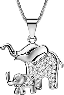 Mom and Baby Elephant Pendant Necklace Platinum Plated Zircon for Woman Girl Jewelry
