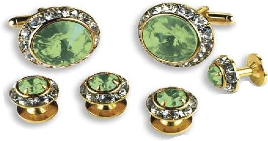 Light Green Stone Center Austrian Crystal Tuxedo Studs and Cufflinks Gold Trim