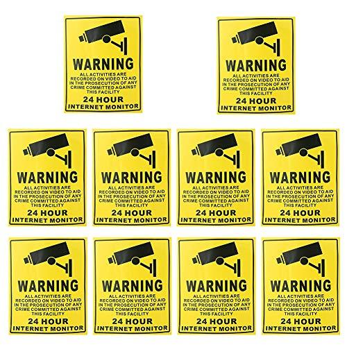 Cartel Alarma Conectada 10pcs 24 Horas de Cámaras de Seguridad CCTV Vigilancia Señales de Advertencia Pegatinas