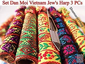 Set Dan Moi 3 PCs Vietnam Jews Harp - mouth/lip musical instrument (jaw harp) (1 Pс Mini + 1 Pс Bass Double + 1 Pс Standard)
