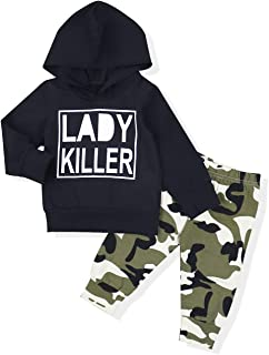 Toddler Baby Boy Clothes Long Sleeve Funny Print Hoodie and Camouflage Pants Outfits Set