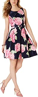 JESSICA HOWARD Womens Navy Tie Pleated Floral Sleeveless Jewel Neck Short Fit + Flare Party Dress AU Size:20