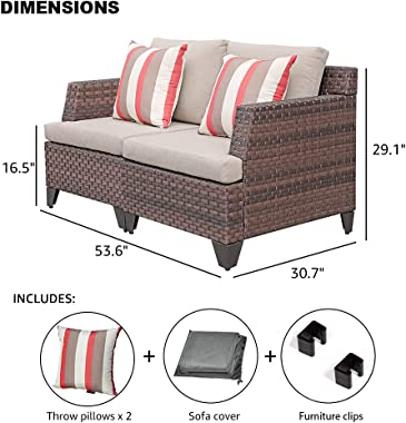 SUNSITT Outdoor Wicker Loveseat Patio Furniture with Beige Cushions, Sofa Cover & 2 Throw Pillows Included, Brown PE Wick