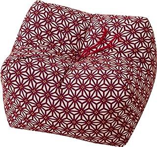 エムール 日本製 天然そばがら 正座クッション そばがら枕 中(22×22×13cm) 麻の葉 あか