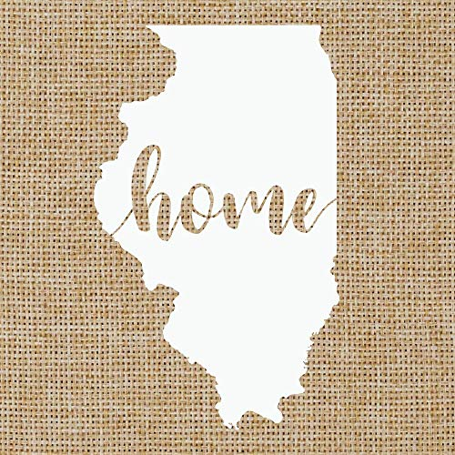Illinois IL Home Script | State Silhouette | Glossy White Outdoor Vinyl | Car Window Decal | 5.5 inches x 3.3 inches