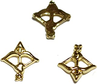 【jewel】メタルネイルパーツ アロー 5個入 ゴールドorシルバー 弓矢型 スタッズ ジェルネイル デコ素材 (ゴールド)