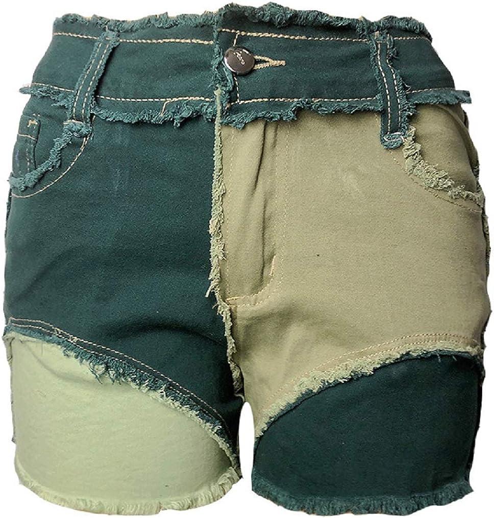 CHARTOU Women's Stylish Natural Waist Frayed Raw Hem Patchwork Mini Denim Shorts