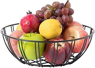 "Basicwise Black Wire Iron Basket Fruit Bowl, 11"" Dia x 3.50"" H"