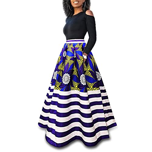 949d226d326 Playworld Women s Cold Shoulder Two Piece Floral Print Pockets Long Party Skirts  Dress