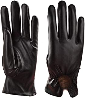 WUXiaodanDan Women's leather warm gloves bow and velvet gloves