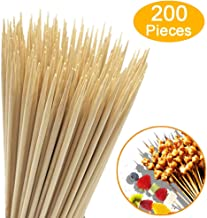 """HOPELF 200 Pieces 10"""" Natural Bamboo Skewers (0.16""""/4mm Diameter) for Barbecue, Grill, Shish Kabob, Appetiser, Fruit, Chocolate Fountain, Cocktail, BBQ, Party (10 Inch (200 Pieces))"""