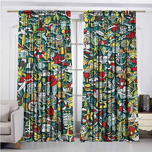 Doodle Curtains Protect Against Summer Heat and Winter Cold Simple Mini Drawings of Holiday Related Concepts Caravan Compass Lifebuoy Breakfast Suitable for Living ro