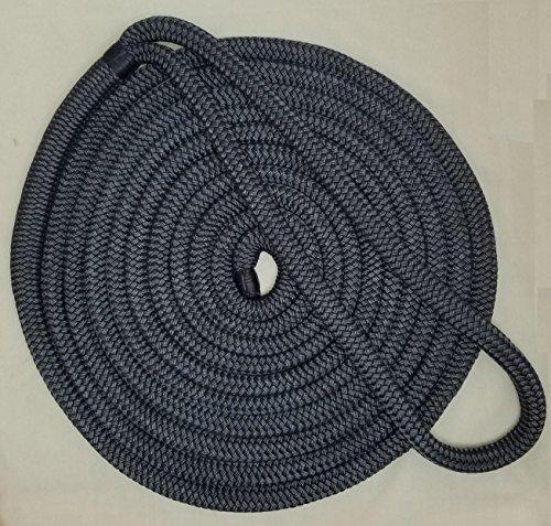 3/4' Premium Double Braid Nylon Dockline 100% Made in USA (Navy, 40feet)
