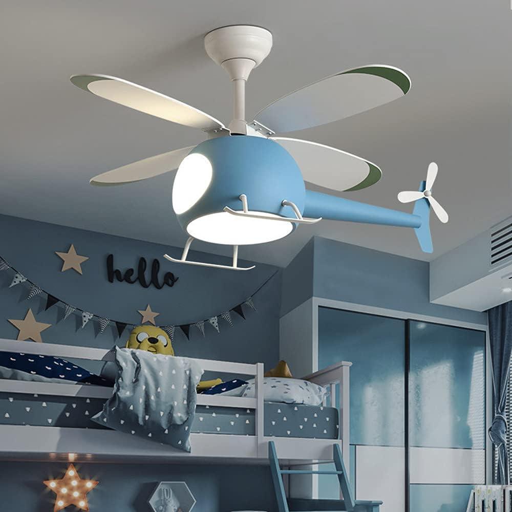 GGMWDSN Lampara Ventilador Techo Infantil, HelicóPtero Decorativo para Interiores, TemporizacióN Led de MúLtiples Velocidades Regulable Moderna con Control Remoto,Blue