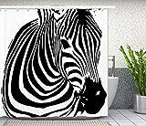 Zebra Shower Curtain, Animal Fabric Shower Curtain Set Art Print Bathroom Tub Decor