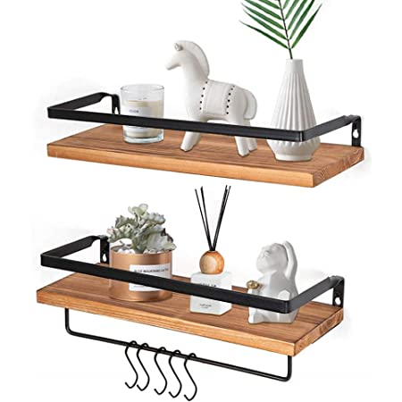 YEVIOR Floating Shelves Wall Mounted, Floating Wall Shelves with 5 Hooks, Rustic Pine Wood Floating Shelves with Removable Towel Bar, Set of 2 Floating Shelves for Bathroom, Kitchen, Bedroom