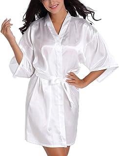 Lovacely Women's Pure Color Satin Short Kimono Robe V-Neck Bride Bridesmaid Wedding Party Silky Dressing Gown Sleepwear