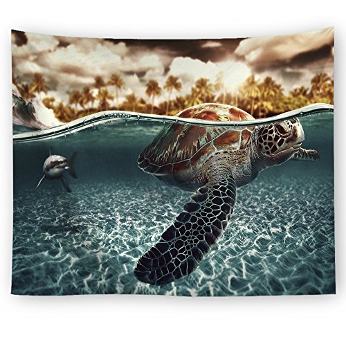 ZGGM Ozean-Tapisserie, 3D Digitaldruck Tapisserie/dekorative Wand- / Meeresschildkröte Badetuch dekoriertes Schlafzimmer zu Hause Yoga-Matte Picknickdecke,T1,200 * 150cm