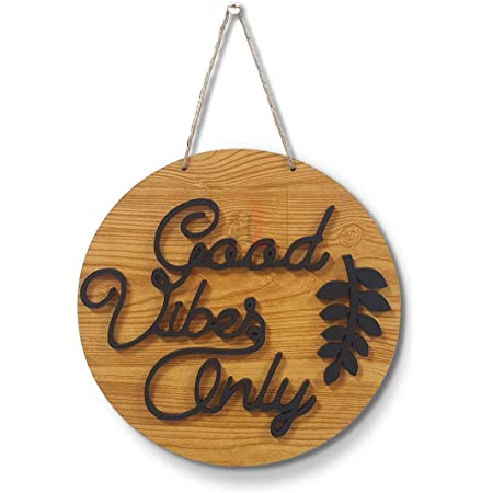 Art Street Good Vibes Only Wall Sign for Home Decoration/Door Wall Décor,Decorative MDF Plaque for Wall Decoration (10X10 Inches)