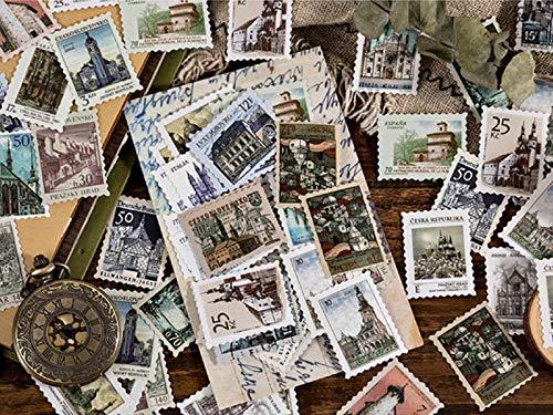 6 stili francobollo Adesivi(276 Pz)per Scrapbooking Stickers Biglietti d'auguri Regali Diario Album Fai da Te Libri a Mano Calendari Decorazione(Non un vero francobollo) 138 modelli diversi