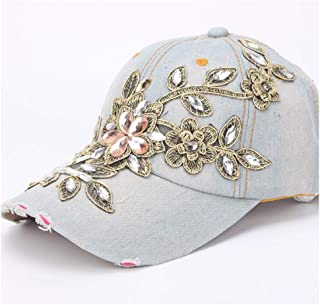 Women Cotton Baseball Cap Shiny Fashion Women's Diamond Flower Lady Rhinestone Cowboy Hat Hats & Caps (Color : Light blue,...
