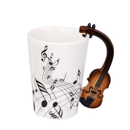 Taza de Té Copa Notas de Música Asa Forma de Violín Porcelana Negro Regalo