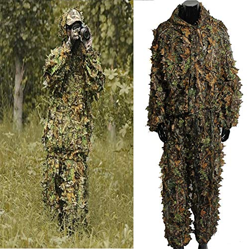NUOWEI DUCK Ghillie Suit 3D Leaf Camo Camouflage Lightweight Clothing Suits for Jungle Hunting,Shooting, Airsoft, Wildlife Photography or Halloween (Type 1)