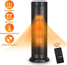 TRUSTECH Tower Ceramic Heater 1500W with Digital Remote, Portable Oscillating Overheating & Tip-Over Protection, Adjustable Thermostat, 8H Timer, ETL Safety Home Office, 24-inch, Black-F