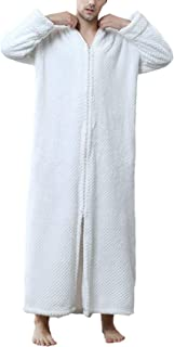 Pajamas Men Women Comfortable Soft Coral Fleece Long Dressing Comfortable Sizes Gown Long Sleeve V-Neck Loose Casual Thick...