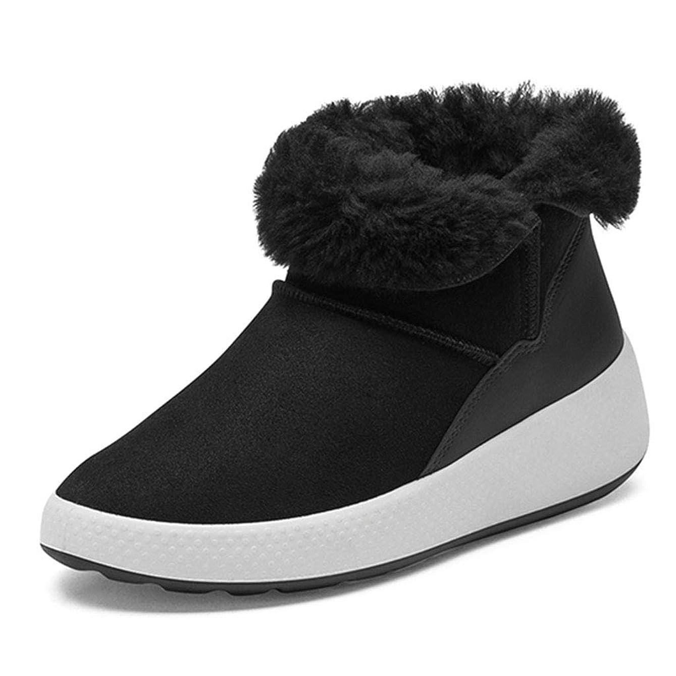 選択処理グレートオークフラットブーツ女性の冬滑り止めカジュアルシューズ防水歩行靴ファー暖かい雪ブーツ 安全?保護用品 (Color : Black, Size : 37)