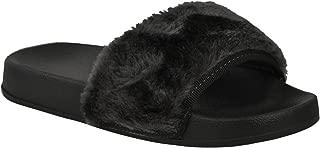 Fashion Thirsty Womens Flat Comfy Faux Fur Trim Rubber Sliders Flip Flops Mules
