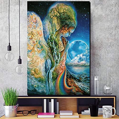 Puzzle 1000 Piezas Cuadro Arte Arco Iris Mar Flor Mariposa Árbol Niña Pintura Puzzle 1000 Piezas clementoni Juego de Habilidad para Toda la Familia, Colorido Juego de ubicació50x75cm(20x30inch)