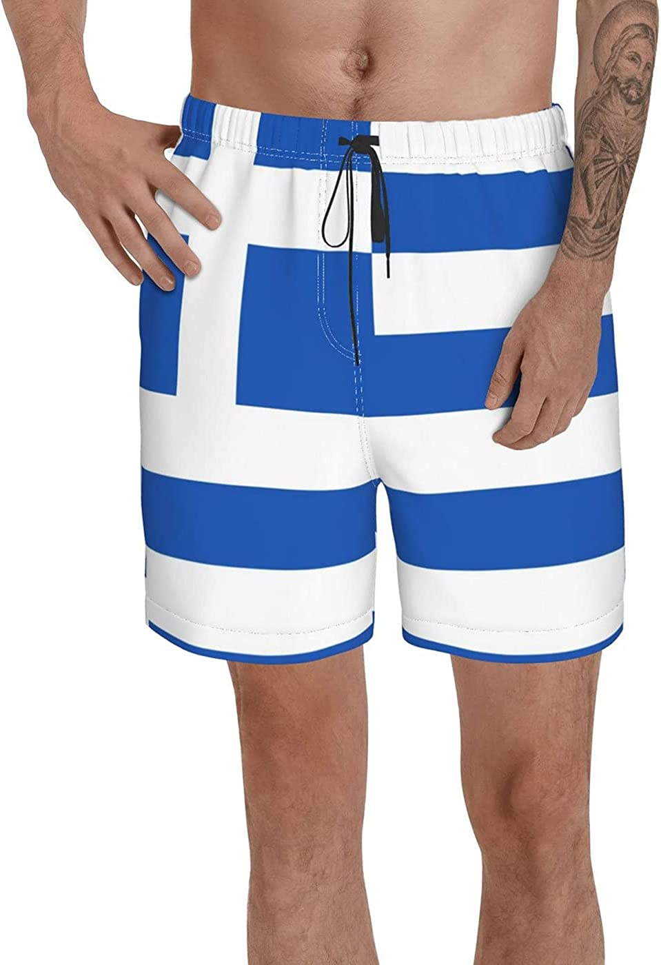 Count Greece Flag Men's 3D Printed Funny Summer Quick Dry Swim Short Board Shorts with