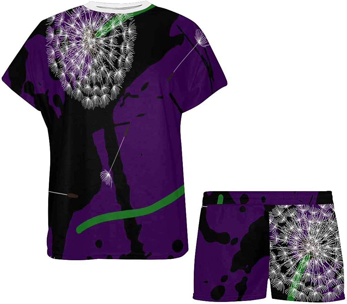 InterestPrint Dandelions Purple Women's Breathable 2 Piece Shorts Pajama Sleepwear Set