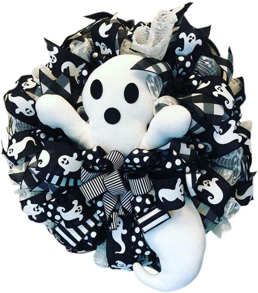 Hzemci Halloween Wreath for Front White Door Ghost Ranking Philadelphia Mall TOP4 Hallo